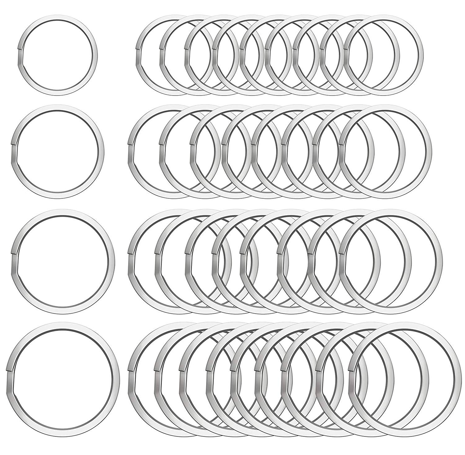80 Pieces Round Flat Key Chain Rings Metal Key Rings Split Key Rings for Home Car Keys Organization, Arts & Crafts(Four Sizes)