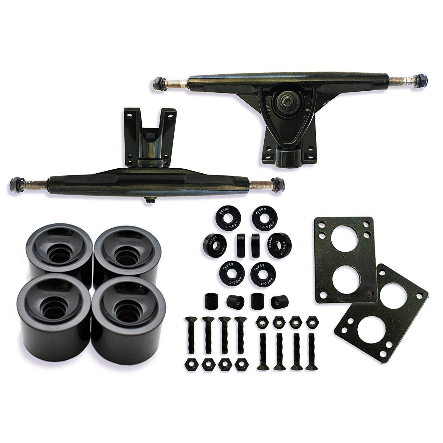 Longboard Skateboard Package, 7inch Aluminum Trucks Black, 70mm longboard wheel set, Skateboard Bearings, Skateboard Pads 6mm, Skateboard Hardware 1.5 inchboard trucks longboard truck and wheel set