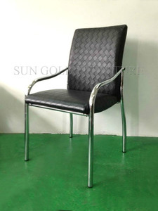 Modern armrest chrome steel lether dining chair (SZ-DC086)