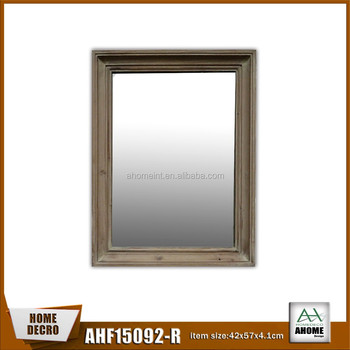 Unfinished Natural Wood Mirror Frame Deep Concave Rustic Wooden Standing