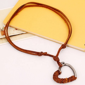 men adjustable boho leather mood half heart necklace