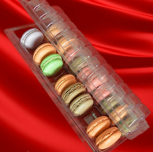 customize soft clamshell folding up down plastic blister trays for macarons cakes chocolates cookies