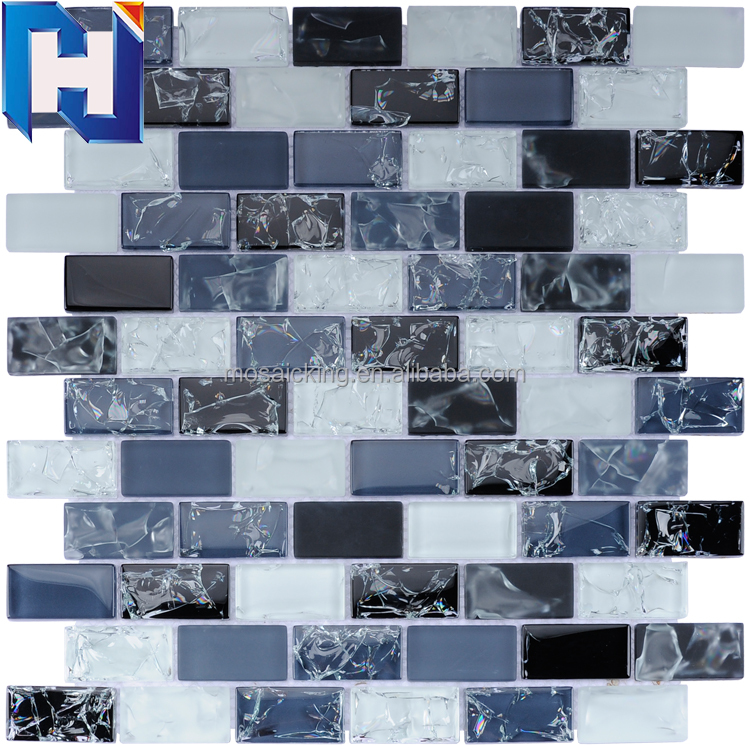 Super White Ice cracked glass mosaic tiles Crystal glass mosaic