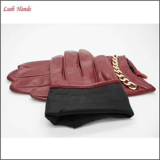 New Womens Ladies Lined Soft Genuine Leather Winter Driving Dress RED Gloves