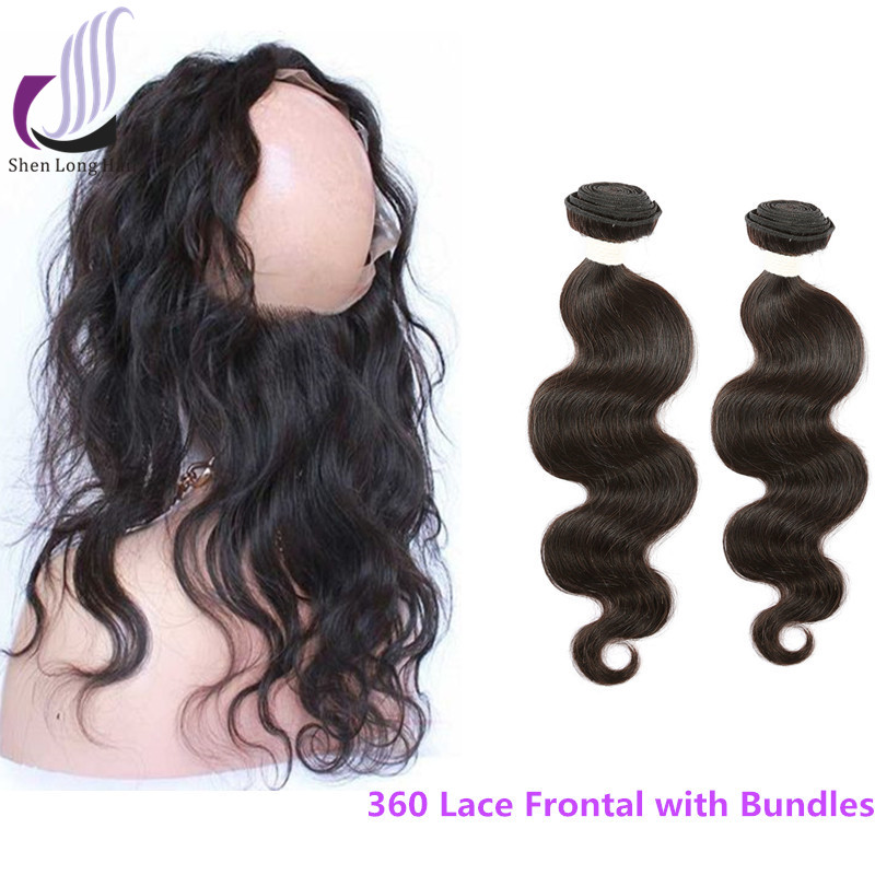 Wholesale weaves closures and bundles 360 lace frontal brazilian body wave hair