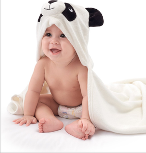 Bamboo baby hooded bath towel with bamboo washcloths set