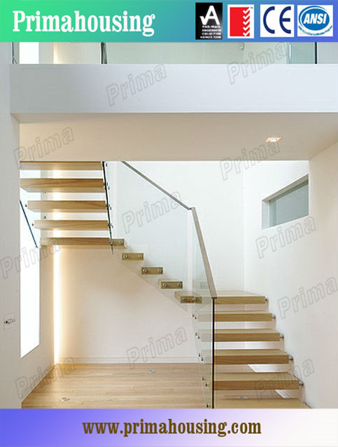 Oak Wood Step Galvanized Steel Prefab Stair Duplex House