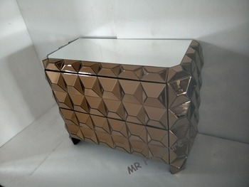 Bronze Mirror Drawer Cabinet Table For Bedroom Furniture