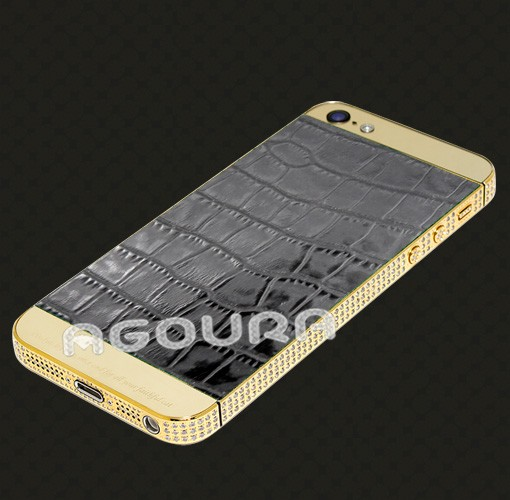 luxury genuine leather gold housing for iphone5