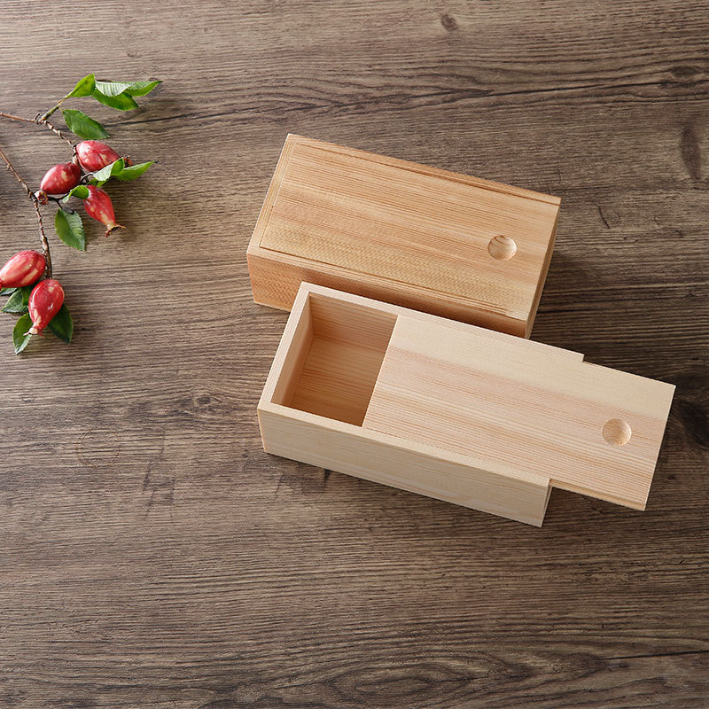 Customized Solid Small Wooden Gift Storage Box With Sliding Lid
