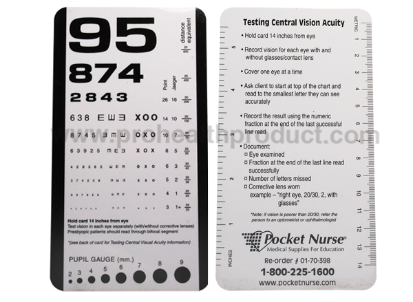 PVC Eye sight Chart eye test vision chart projector with Mini Pocket Size
