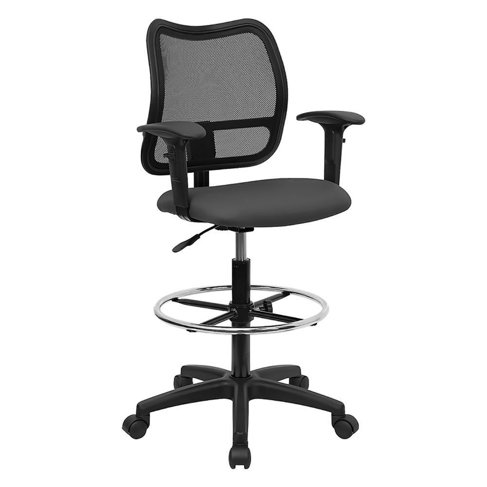 Offex OF-WL-A277-GY-AD-GG Mid-back Mesh Drafting Stool with Gray Fabric Seat and Arms