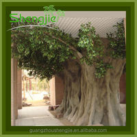 2014 large artificial metal ficus banyan tree for decoration ,ornamental foliage plants