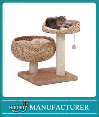 Cozy Paper Rope Perch with Bowl Lounge, Plush Fleece Pillow and Duel Sisal Posts