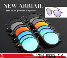 Wholesale 2017 fashion gafas de sol retro round sunglasses with your own brand