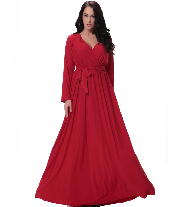 34cd168903629 Autumn Newstyle Plus Size V Collar Long Sleeve Christmas Red Dress ...
