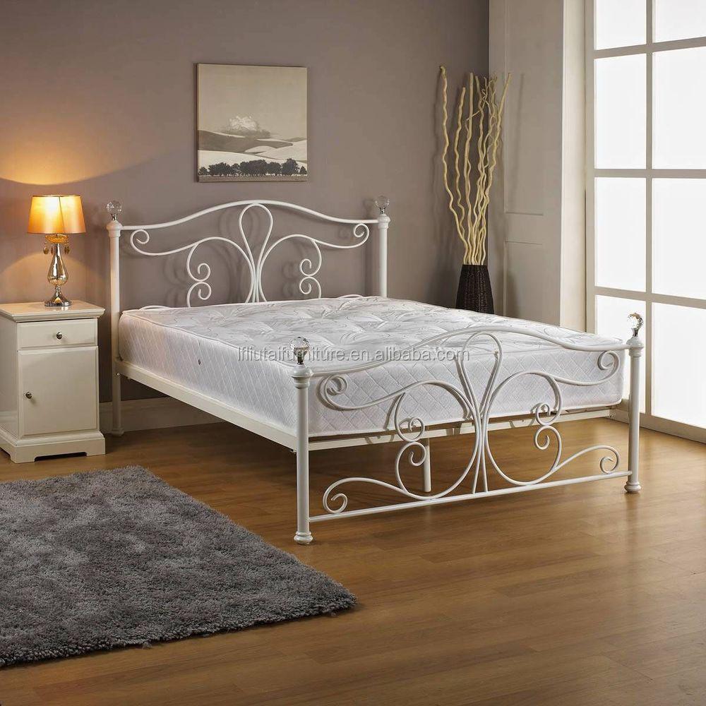 new white metal bedframe bed frame super king size 180x200 cm incl slat frame - White Metal Bed Frame