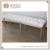 French farmer house upholstered seat oak leg tufted bench