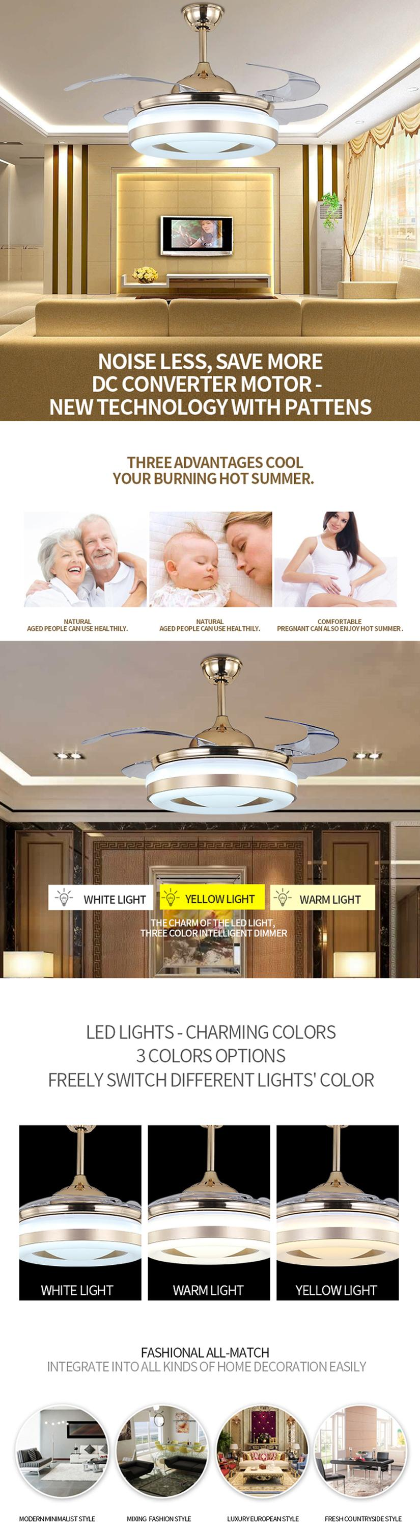 Special design factory price high quality hidden blades lighting ceiling fans