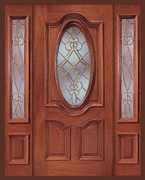 Entrada prehung oval vidrio puerta de madera con 2 luces for Vidrios decorados para puertas interiores