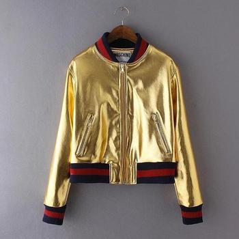 277f92c79c74 M1168 Runwaylover fashion young ladies golden pu leather flight jacket  bomber jacket baseball jacket