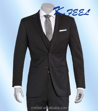 Wholesale Men's Wool 3 PCS Black Business Formal Event Suits