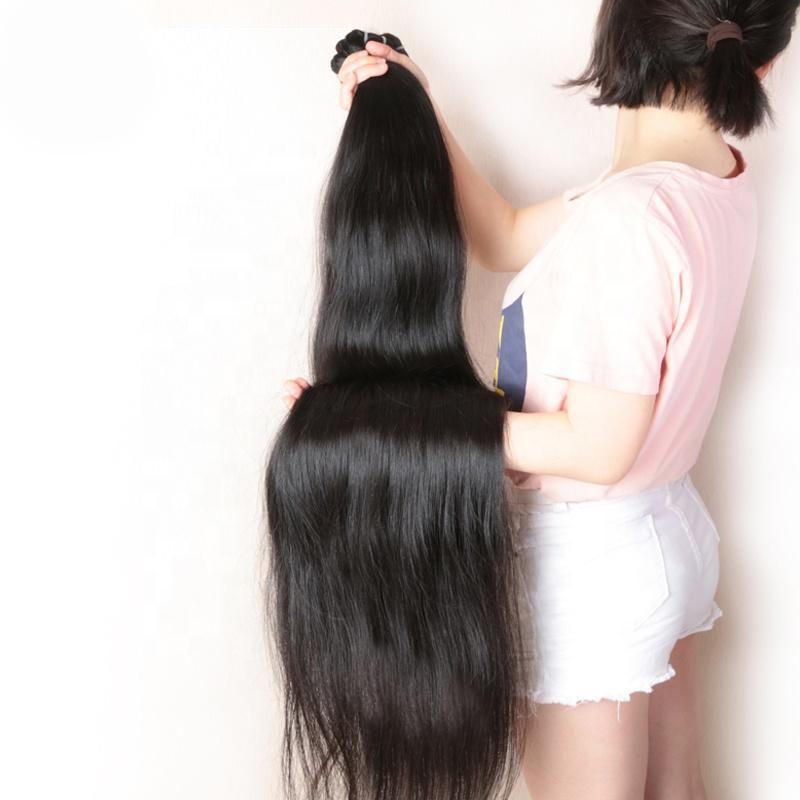 32 34 36 38 40 Inch Raw Indian Straight Hair Weave , Peruvian 100% Human Hair Extensions, Bundles Xuchang Long Natural Hair