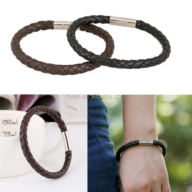 PK0497 single wrap braided leather bracelet men women plain friendship leather bangle