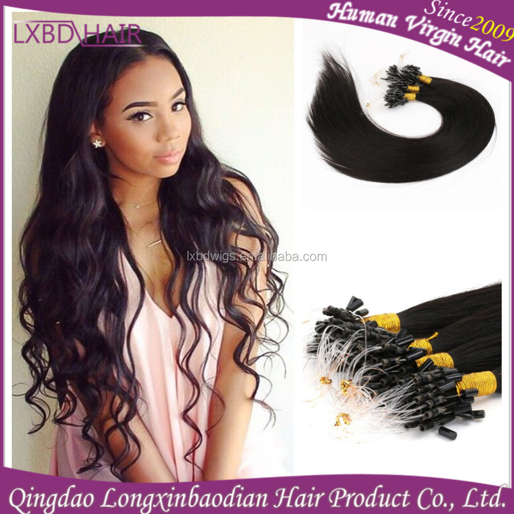 New arrival Indian human hair micro ring hair extensions for beautiful women