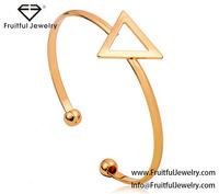 Hollow triangle design charm bracelet adjustable gold black silver bracelet bangle cuff with ball