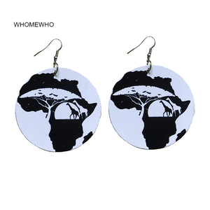 Wood African Black Queen Rock Wild Africa Map Giraffe Animal Earrings Women Vintage Party Jewelry Retro Wooden DIY Accessory
