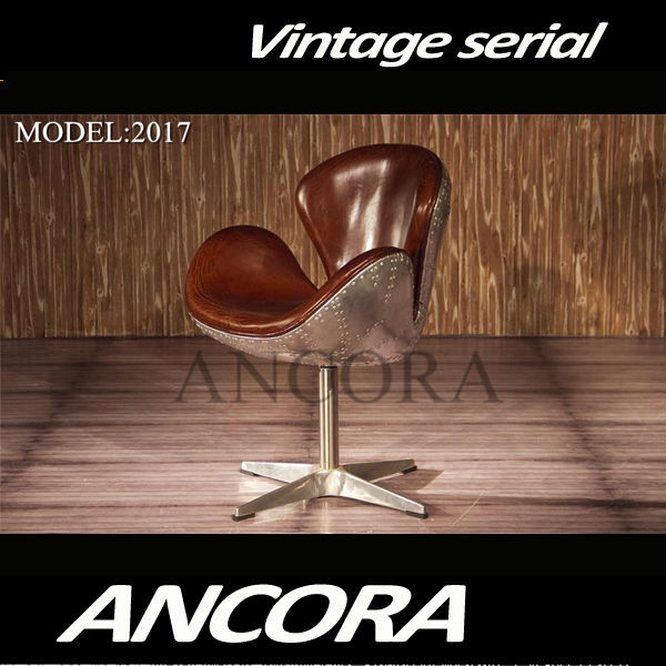 New Aviation Arne Jacobsen Swan Chair Vintage Brown Leather