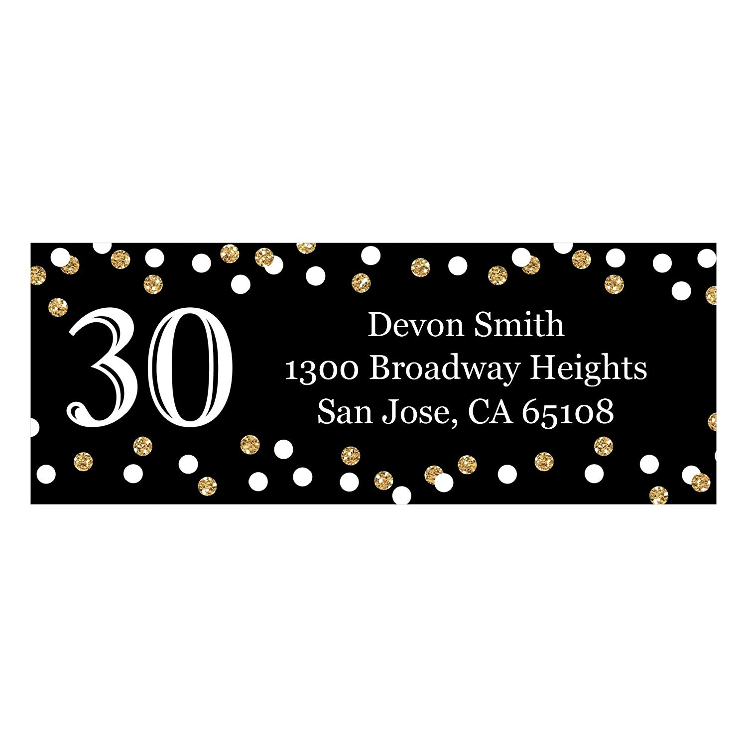 Custom Adult 30th Birthday - Gold - Personalized Birthday Party Address Labels - Set of 30