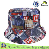 Custom embroidered checked sublimation bucket hat/floral print bucket hat