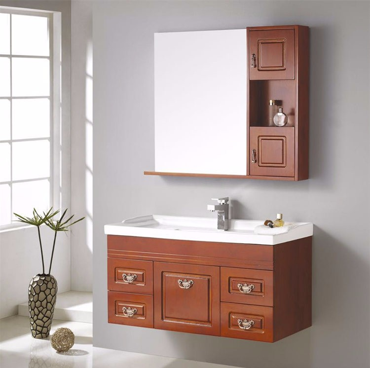 Classic wall mounted solid wooden washstand with side cabinet