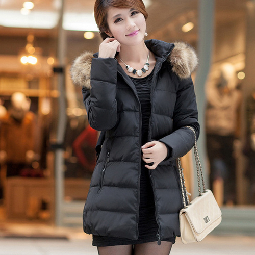 Top Quality Fashion Women Down Jacket Korean Style Fur Collar ...
