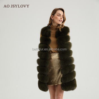 Western style warm and fashion women mid long real fox fur vest