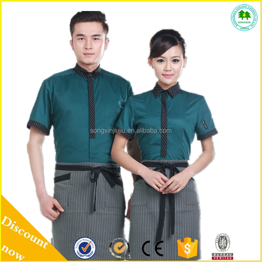 0a480558599 Custom Restaurant Hotel Waiter Waitress Uniform For Sale - Buy Sexy ...