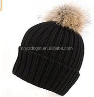 Womens Girls Knitted Fur Hat Real Large Fur winter hats
