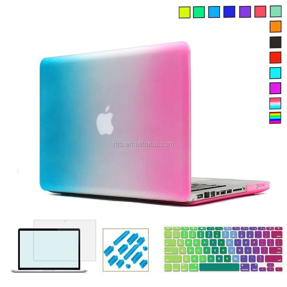 Promotion 4pcs sets protector for macbook, rainbow computer cover cases for macbook pro 13