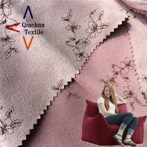 200D floral pattern mocks suede with embroidery sofa fabric