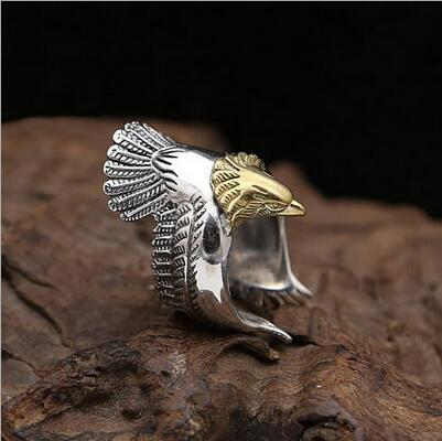 2017 hot sale new fashion metal eagle opening ring personality bird eagle wing adjustable ring for men unisex jewelry