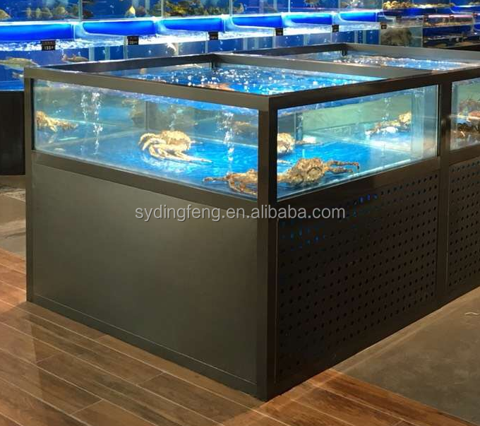 Dingfeng customized supermarkt oder restaurant ECO chiller leben königskrabbe aquarium