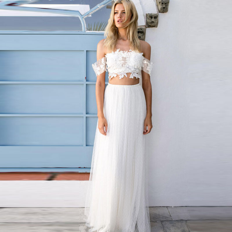 Simple Wedding Dresses For Beach: Romantic Simple 2 Pieces Beach Wedding Dresses Lace Bodice