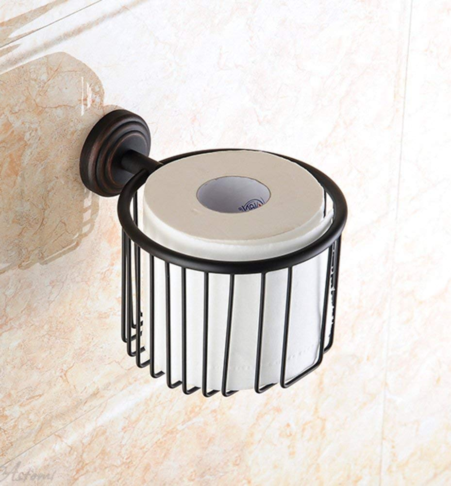 Adhesive Toilet Paper Holder,Paste Toilet Paper Holder,Paper Towel Dispenser Bronze Paper Towel Holder with a modele Antique Toilet Tray Tissue-Paper Basket-B 12x14cm(5x6inch)