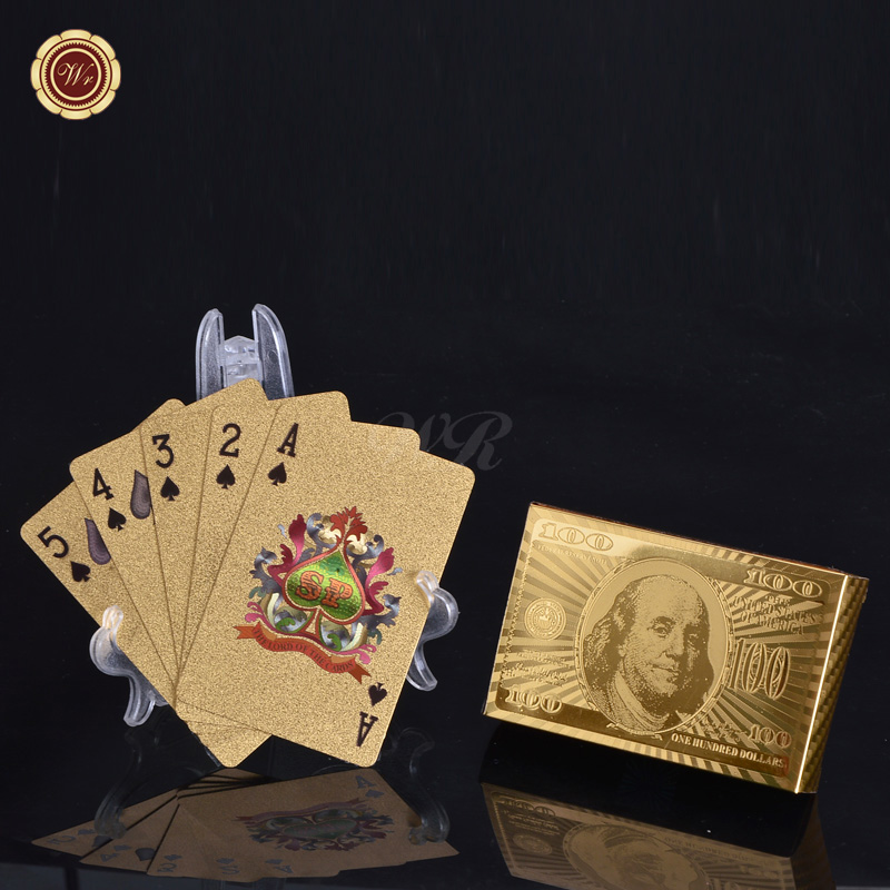 WR 24k Gold Plated Playing Cards US 100 Dollar Full Poker Deck Collectible business gifts