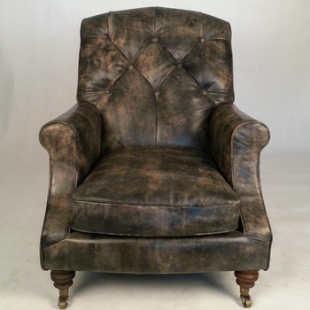 Retro Traditional English Chesterfield Sofa Chair In Antiqued Leather