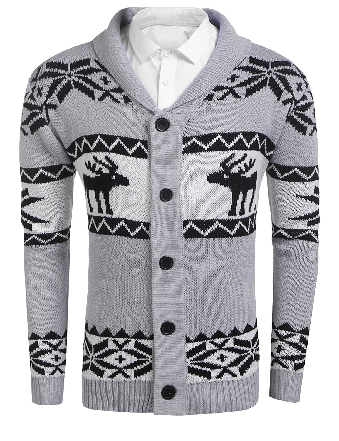8225befa6 Get Quotations · Misakia Mens Christmas Reindeer Cardigan Shawl Collar Long  Sleeve Snowflake Pattern Button Cardigan Sweater