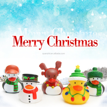 Christmas tree light penguin and deer soft rubber duck toy for sales
