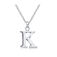 K Necklaces Pendants Alphabet Letter Layering Necklace for Women Men Dainty Brass Silver Color Boho Charm colar feminino CN974